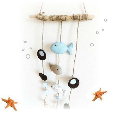"""(\(\ (-.-) 0_(""""("""")   Le Monde des Bibbous vous propose une originale  décoration pour chambre d'enfant à suspendre ... Thème marin , poissons suspendus sur ficelle brut à - 15228559"""