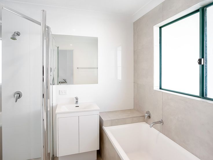 Dulux Lexicon Quarter, in a white and neutral bathroom on the Sunshine Coast, Queensland. This property makes an extra $120/week after our renovation!