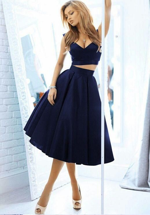 Two Piece Homecoming Dresses Navy Blue Mid Length Prom Dress With