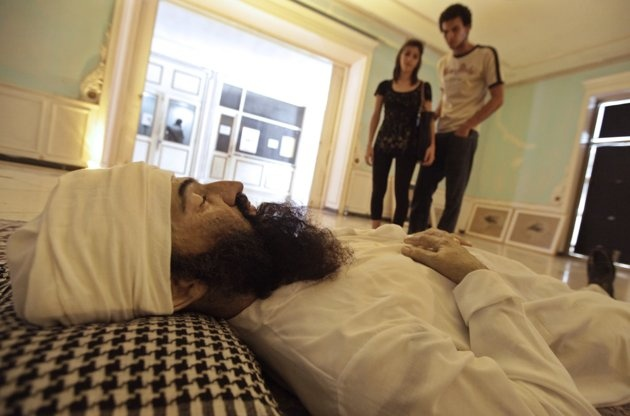 """A sculpture of the dead Osama bin Laden called """"He"""", created by Cuban artists Manolo Castro, Julio Lorente and Alberto Lorente, is displayed at an art exhibition during the 11th Havana Biennial May 10, 2012."""