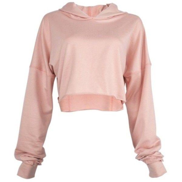 Pink Crop Hoodie ($35) ❤ liked on Polyvore featuring tops, hoodies, cropped hooded sweatshirt, sweatshirt hoodies, cropped hoodie, cropped tops and pink hooded sweatshirt