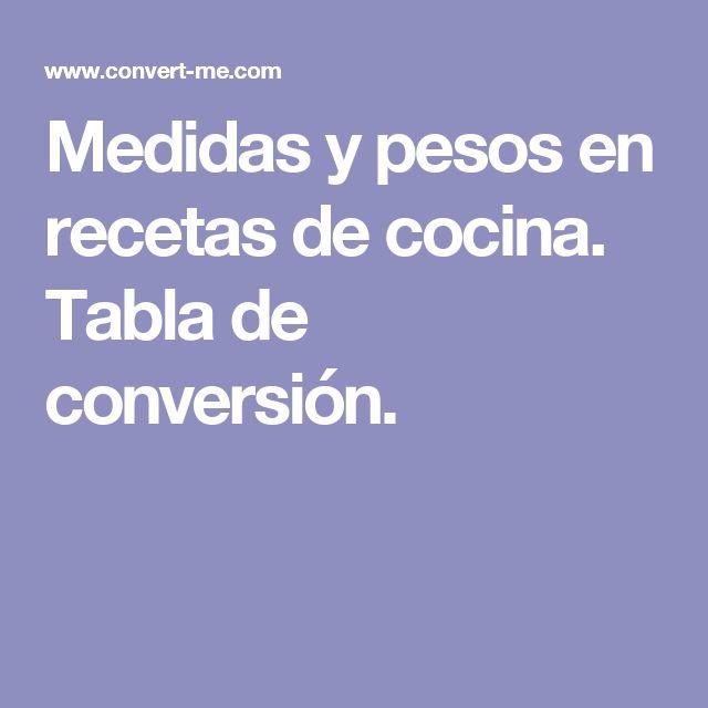 Medidas y pesos en recetas de cocina. Tabla de conversión.