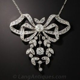 Edwardian Bow and Garland Diamond Necklace