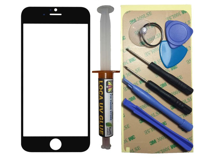 """Black Outer Glass Lens Screen iPhone 6 4.7"""" Replacement UV LOCA Glue & Tools"""