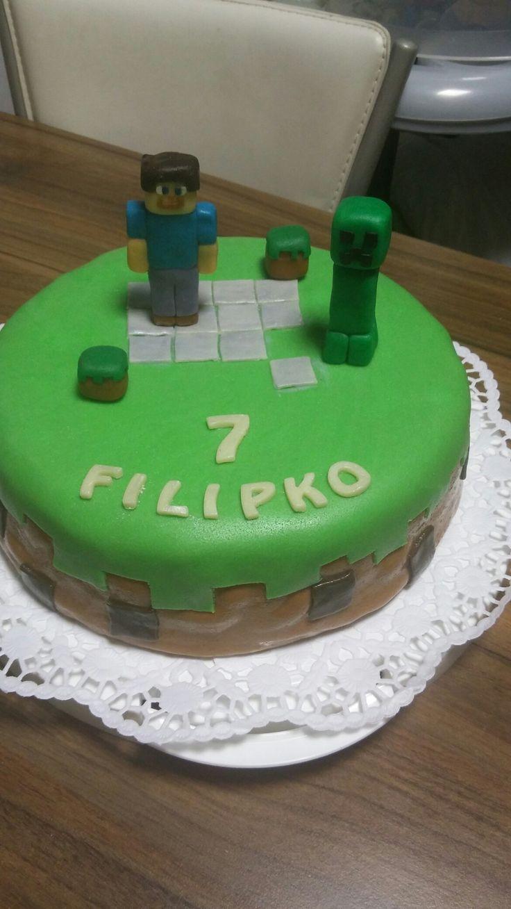 Pre synceka k narodeninám.Torta inšpirovaná pc hrou Minecraft