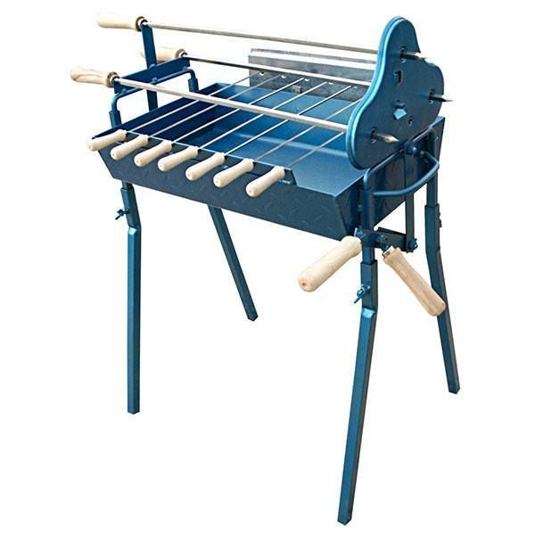 Charcoal BBQ - BBQ Set - Small - Traditional Greek Cypriot Foukou Charcoal Cyprus BBQ Set - Blue - Perfect for small gardens and patios.