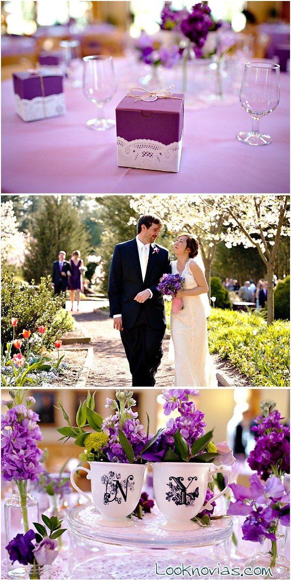 decoración lila en bodas