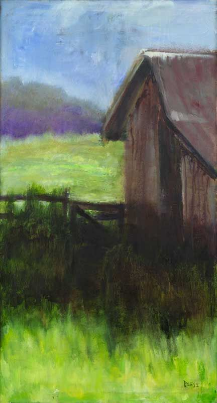 """""""Summer Shadowa"""" . 24 x 48  oil on canvas  Available as giclee   I paint a lot of old barns in my own small effort to save them from disappearing forever."""
