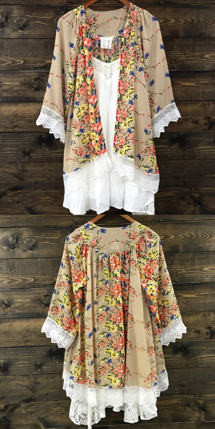 Our Best Selling Boho Kimono is Back in Stock! Adorned with lace this bohemian duster is perfect for any gypsy festival babe. www.rosebuffalo.com