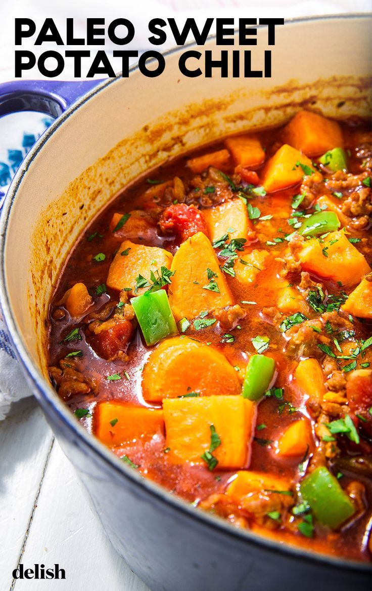 Low Carb Sweet Potato Chili Will Warm You Up Without Weighing You Down Recipe Sweet Potato Chili Sweet Potato Chili Recipe Paleo Sweet Potato