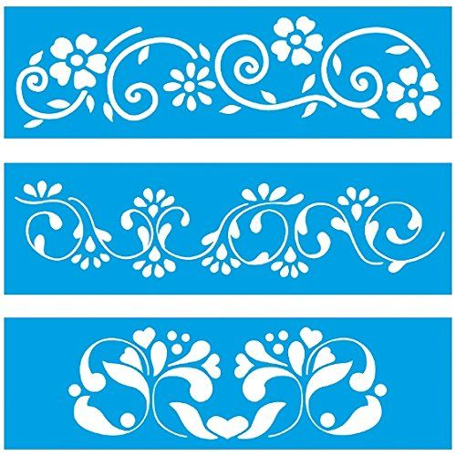 "Set of 3 - 11"" x 3.3"" (28cm x 8cm) Reusable Flexible Plastic Stencil for Graphical Design Airbrush Decorating Wall Furniture Fabric Decorations Drawing Drafting Template - Leaves Flowers"
