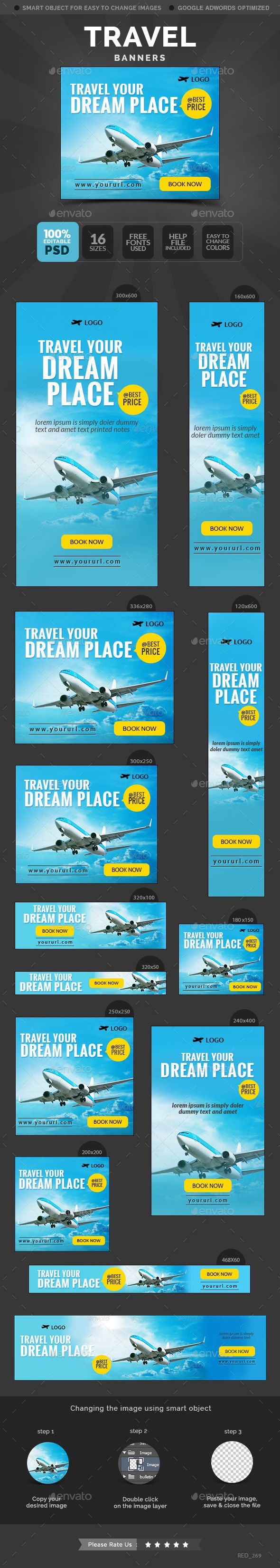 Travel Banners Template #design #banners #web Download: http://graphicriver.net/item/travel-banners/11807660?ref=ksioks