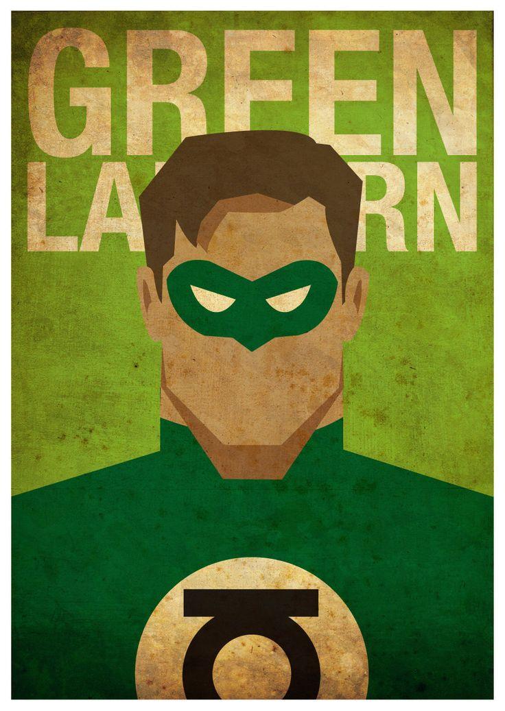 Vintage Minimalist Green Lantern Poster A3 Prints by MyGeekPosters