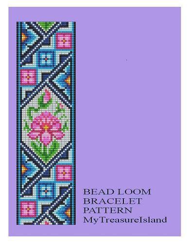 For sale is Bead Loom Antique Motif 2 Bracelet Pattern in PDF format in 2 Color Versions – Blue and Lavender.    For this design I used Miyuki