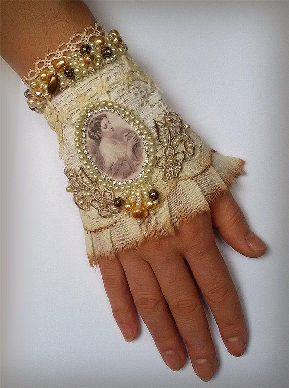 Jewelry bracelet, romantic shabby chic wrist cuff -antique laces, hand beaded