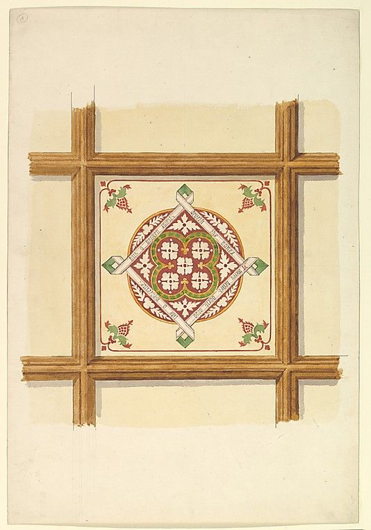 Design for a Coffered and Painted Ceiling in Rust and Olive Green, with a Quatrefoil Motif John Gregory Crace  (British, London 1809–1889 Dulwich)