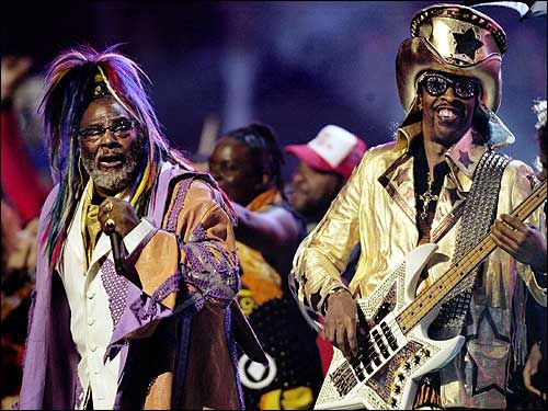 Mothership Connector Funk legend, George Clinton and his thumb cracking, ultra rhythmic, funky bass sex machine, Bootsy Collins.