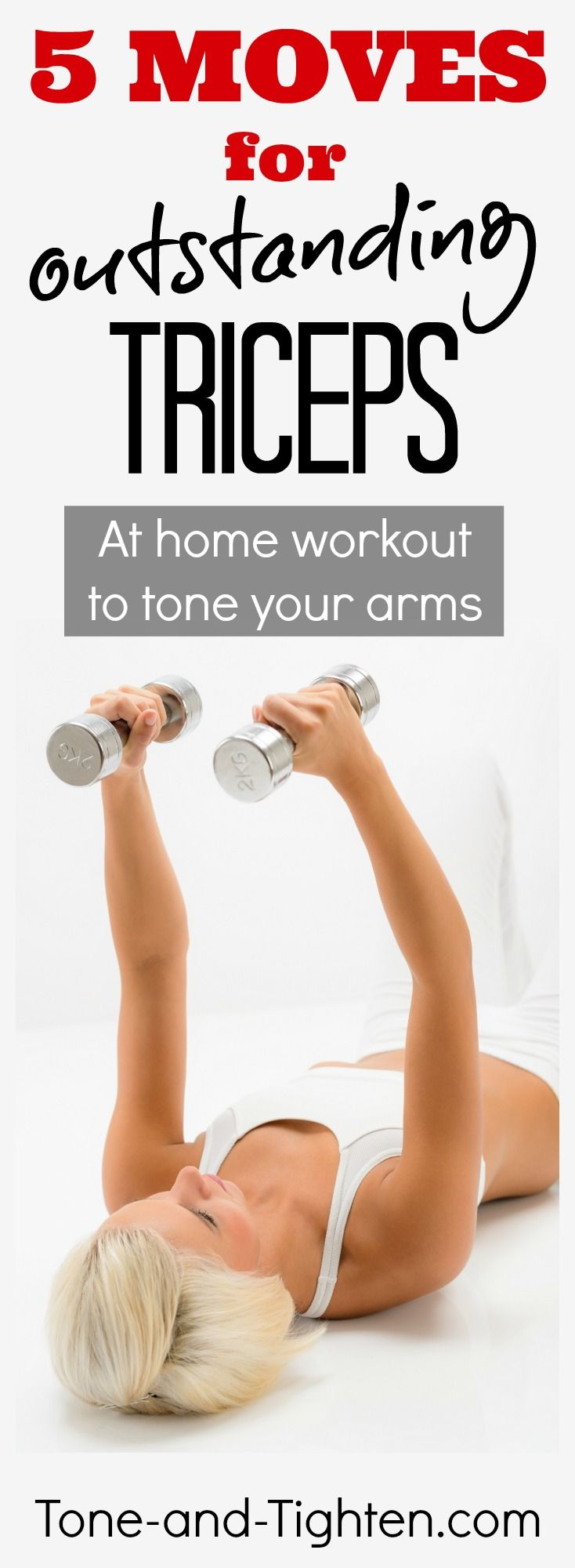 5 of the best exercises to tone your triceps (the muscle in the back of your arm). From Tone-and-Tighten.com