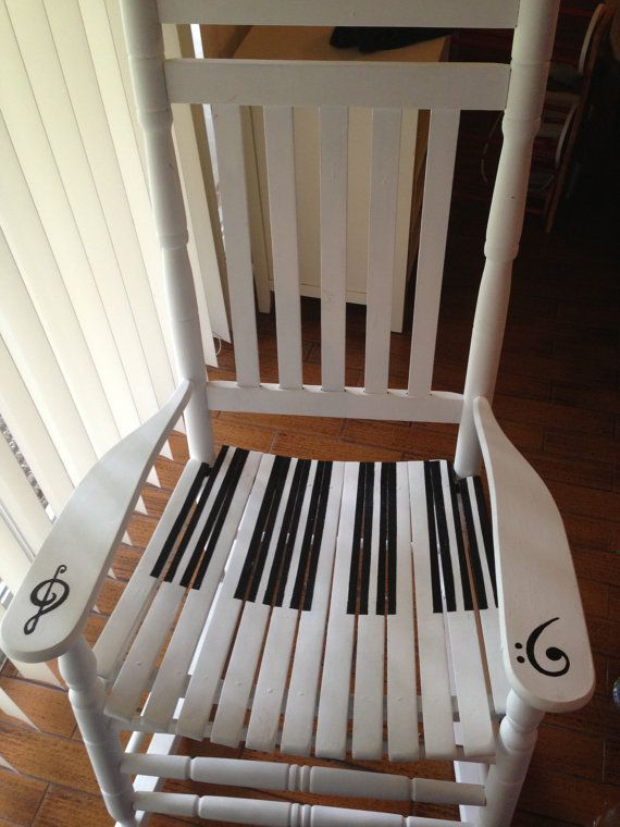 """A rocking chair with piano print!  """"If music be the food of love, play on ..."""" #MakinPianos Passionate about Pianos since 1931"""