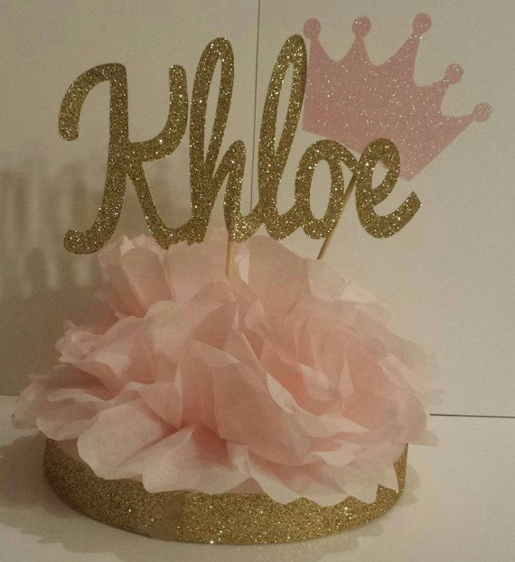 Blush Pink and Gold Personalized Name centerpiece Princess 1st birthday party or baby shower Can be made to match any theme! Super Cute!