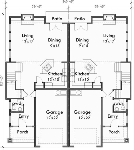 Main Floor Plan For D 600 Craftsman Duplex House Plans Luxury Duplex House Plans Hillsboro Oregon Duplex House Plans Town House Floor Plan Duplex Floor Plans
