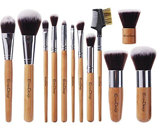 EmaxDesign 12 Pieces Makeup Brush Set Professional Bamboo Handle Premium Synthetic Kabuki