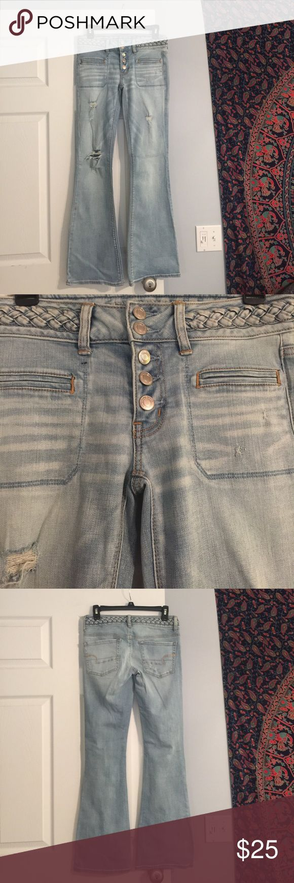 "Braided waist artist flare jean AE Gently pre worn American Eagle Outfitters braided waist Artist flare jeans. Lightly distressed. Button down and stretch. Inseam measures 30"". Stock photo shows fit. American Eagle Outfitters Jeans Flare & Wide Leg"