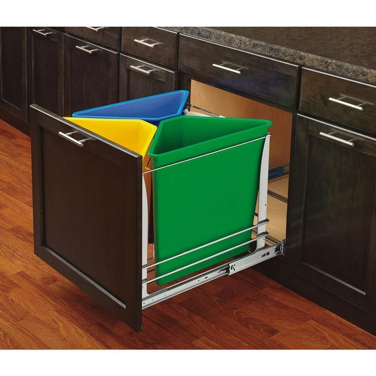 20 25 in h x 20 in w x 22 25 in d multi color three bin recycling center with soft close on kitchen organization recycling id=46050