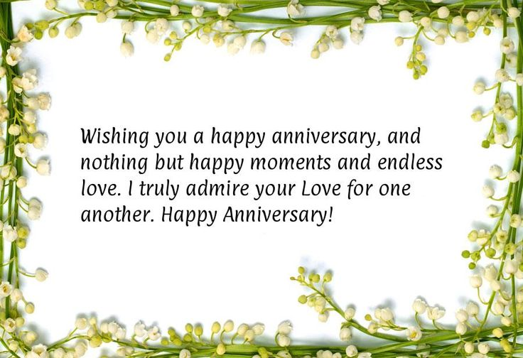Wishing you a happy anniversary, and nothing but happy moments and endless love. I truly admire your Love for one another. Happy Anniversary!