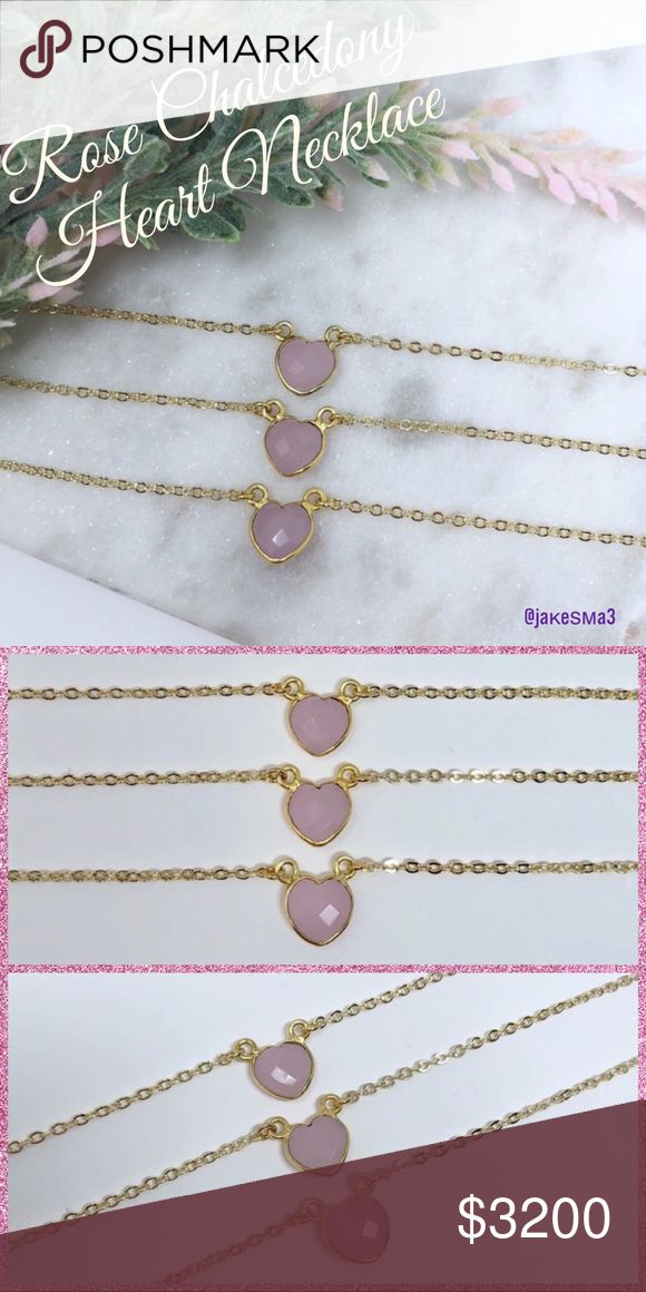 """💕COMING!!💕ROSE CHALCEDONY HEART NECKLACE💕 💕ROSE CHALCEDONY HEART PENDANT NECKLACE💕 Natural faceted stone approx 10mm on a 18K gold plated chain. Total length is 18.5"""". Handmade in Texas. 💕Listing is for ONE necklace💕💕WILL DROP PRICE WHEN THEY ARRIVE💕 Simple Sanctuary Jewelry Necklaces"""