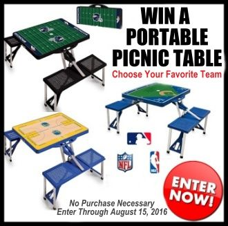 http://virl.io/pnXeEmrM  (Ends August 15) Win a Portable Picnic Table (NFL, MLB, or NBA) valued at $140!