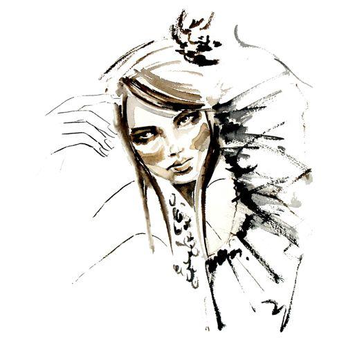 KAROLINA KIERAT - Girl in Sepia - akwarela