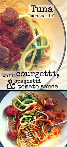 Tuna 'meatballs' with courgetti, spaghetti & tomato sauce