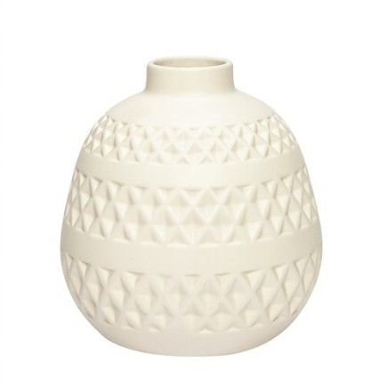 Hübsch Vase m. Mønster Hvid
