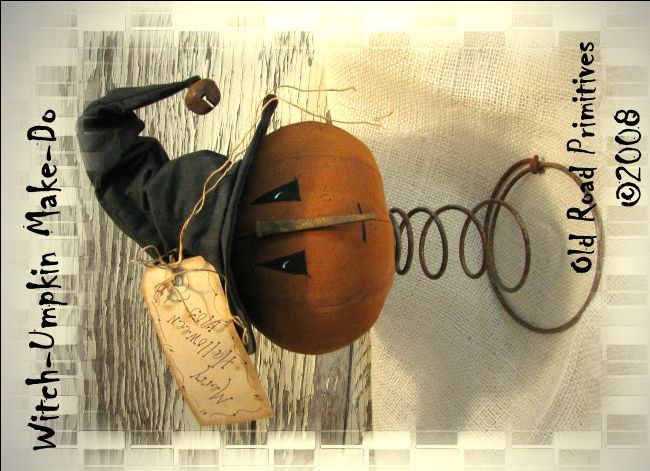 Witch-Umpkin Make-Do Pattern-Fall,Pumpkin,Witch,Halloween,Primitive,Makedo,e-Pattern,Pattern,Vintage,Old Road Primitives,