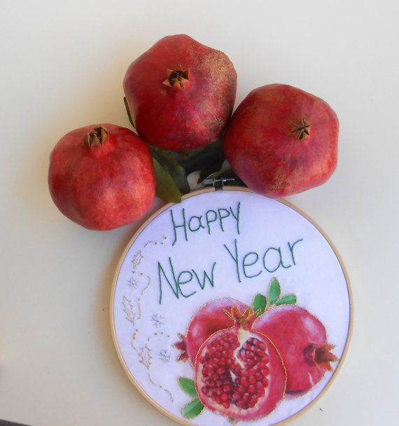 embroidery hoop art, christmas wall art, decoupage pomegranate, fabric decoupage, happy new year, cotton home decor, egst,
