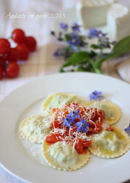 Andante con gusto: Ravioli con borragine, pomodorini e cacio ricotta lucana: pomeriggi a caccia di erbette selvatiche.