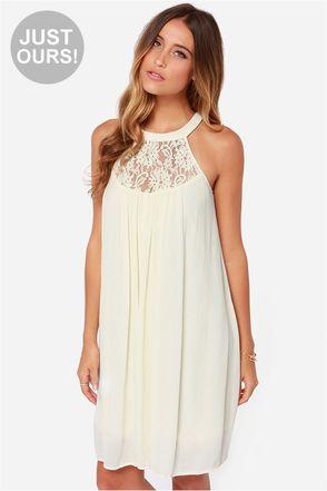 LULUS Exclusive Crepe Draper Cream Lace Dress at Lulus.com! Prettiest summer dress!!