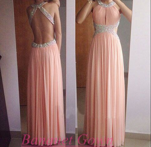 2016 Prom Dress,Blush Pink Prom Dress,Chiffon Prom Dress,Open Back Prom Dress,Long Prom Dress,Chiffon Prom Dress,Backless Prom Dress - Thumbnail 2