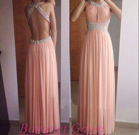 2016 Prom Dress,Blush Pink Prom Dress,Chiffon Prom Dress,Open Back Prom Dress,Long Prom Dress,Chiffon Prom Dress,Backless Prom Dress - Thumbnail 2