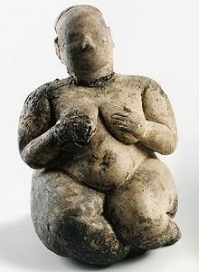 female figurine, gobekli tepe, turkey  Comapre her to the Venus of Willendorf. There is a similar aesthetic vis-à-vis an exaggeration of breasts, stomach and hips to convey a sense of FERTILITY / WEALTH / FECUNDITY; however, there is a much greater attempt towards naturalism and proportion. This figure has a face and arms, albeit very stylized.