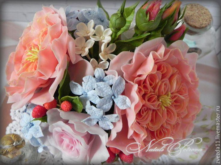 """Купить Букет """"Воспоминания о лете"""" - бледно-розовый, цветы из полимерной глины, букет из полимерной глины"""