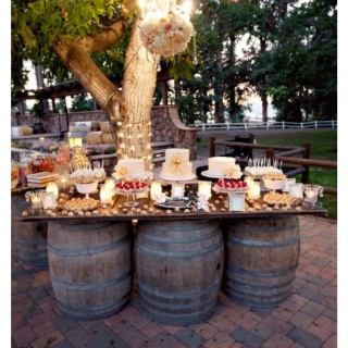 Wedding cake table.  Great winery or outdoor setup