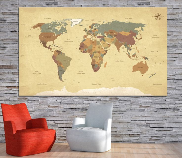 Large Textured Vintage World Map Whith Countries Names Canvas Print,Extra large detailed world map,World map canvas print ready to hang by CanvasPrintStudio on Etsy