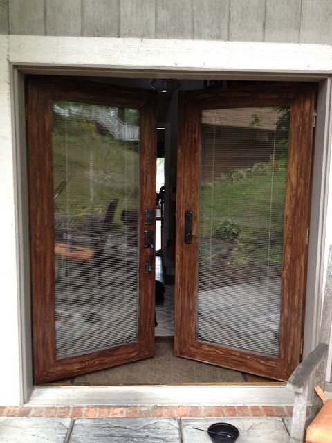 Faux wood doors with Minwax Gel Stain