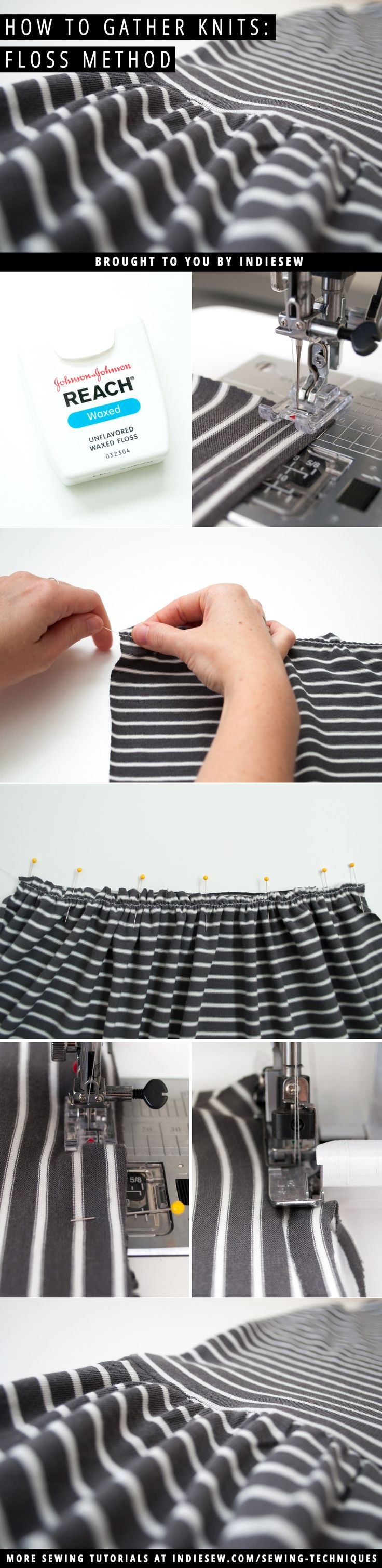 Gathering knits can be a scary sewing technique. Learn how to get perfectly spaced gathers with this nifty method! | Indiesew.com