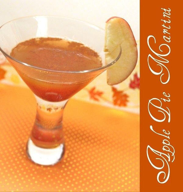 Apple Pie Martini 1 oz Vanilla Vodka 2 oz apple cider 1/2 tsp lime juice 1/4 tsp cinnamon Pour the ingredients into a cocktail shaker filled with ice. Shake well. Strain into a chilled martini glass. Garnish with a slice of apple.