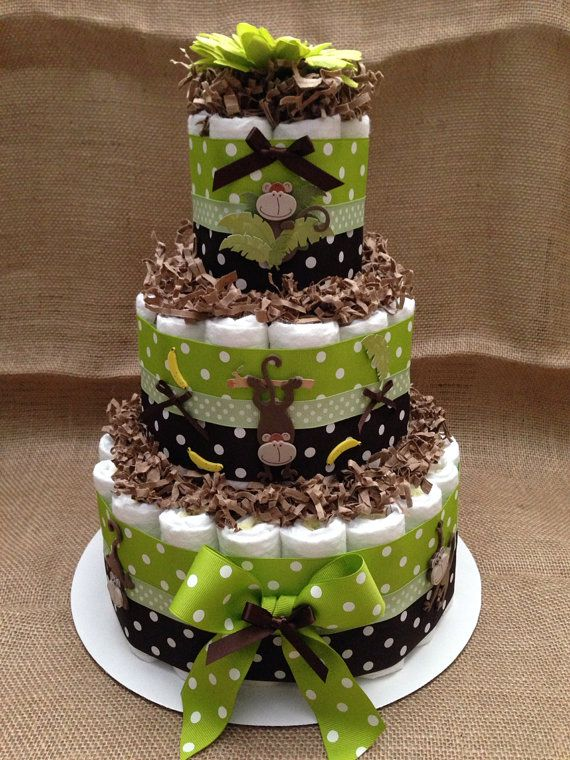 Green and Brown Monkey Diaper Cake for Baby Shower Centerpiece and New Baby Gift