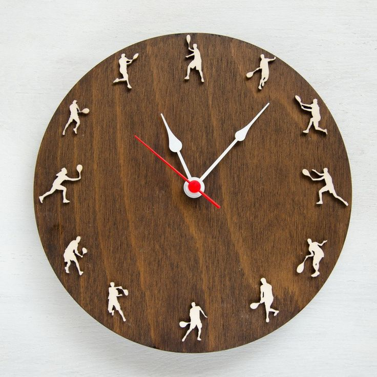 Tennis wall clock, Wooden clock with tennis player's silhouettes