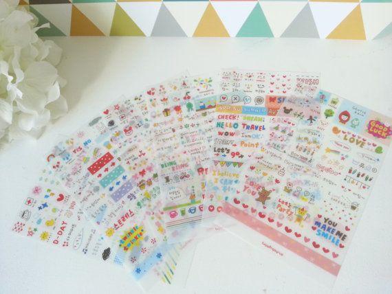 Stickers coréens RAINBOW MARKET par SweetLittleHarmony sur Etsy